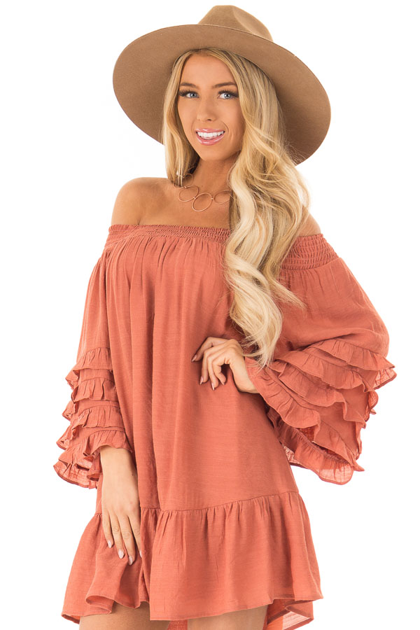 3ba9bc096ece Brick Off the Shoulder Mini Dress with Tiered Ruffle Sleeves front close up