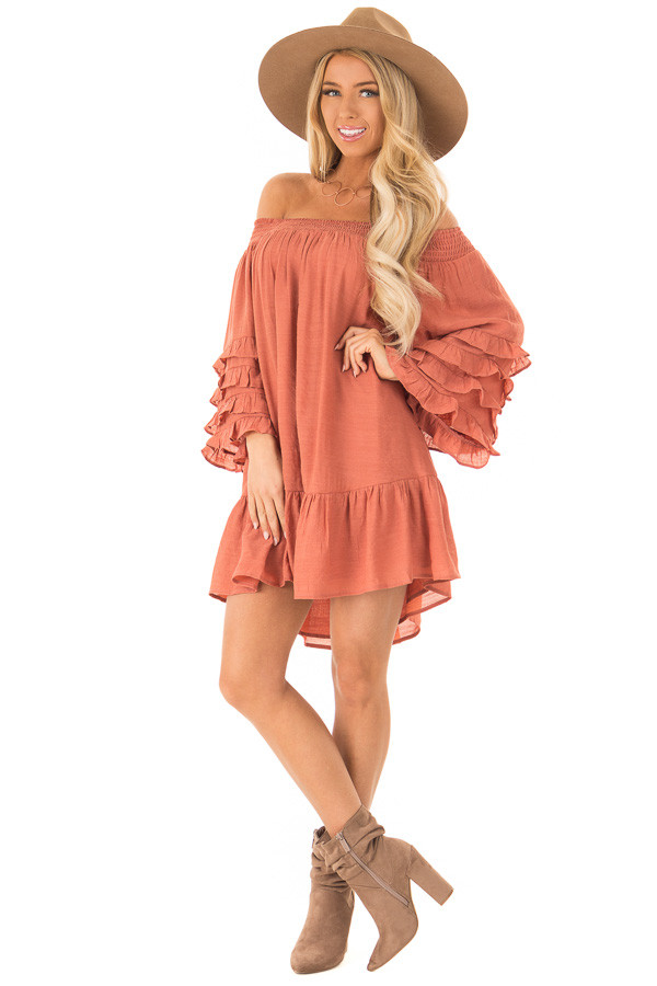 Brick Off the Shoulder Mini Dress with Tiered Ruffle Sleeves front full body