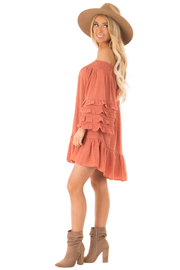Brick Off the Shoulder Mini Dress with Tiered Ruffle Sleeves side full body