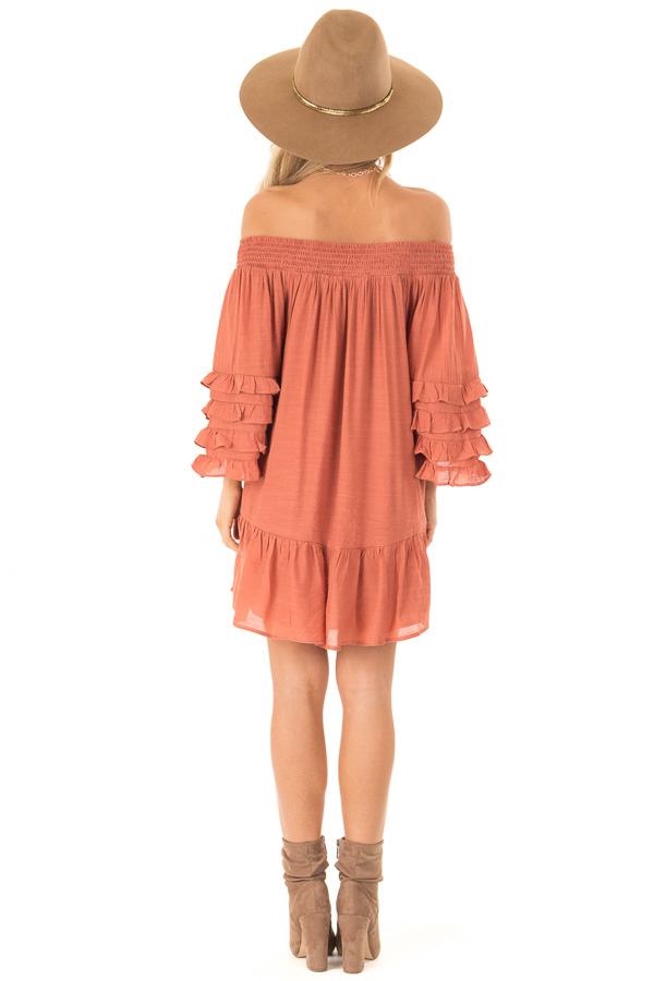 Brick Off the Shoulder Mini Dress with Tiered Ruffle Sleeves back full body
