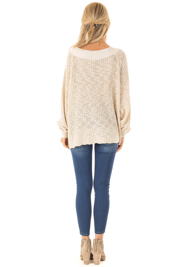 Oatmeal Oversized Knit Sweater with Long Dolman Sleeves back full body
