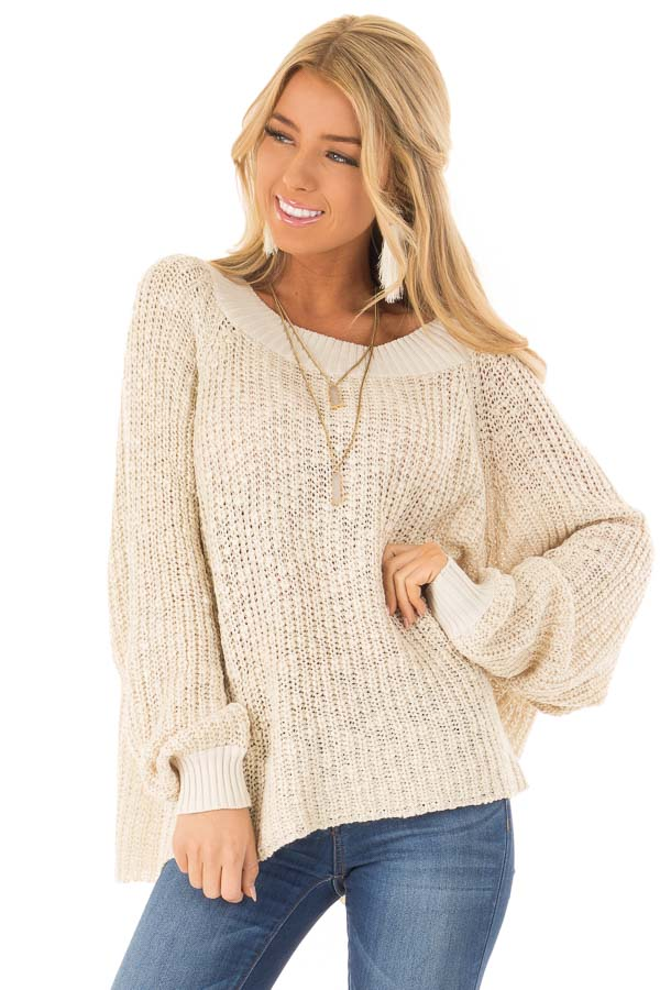 Oatmeal Oversized Knit Sweater with Long Dolman Sleeves front close up