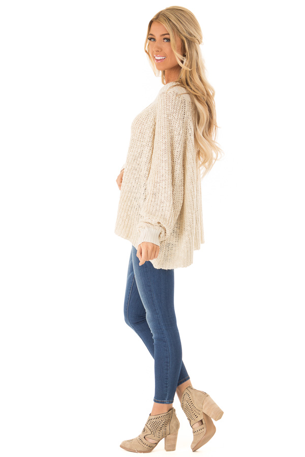 Oatmeal Oversized Knit Sweater with Long Dolman Sleeves side full body