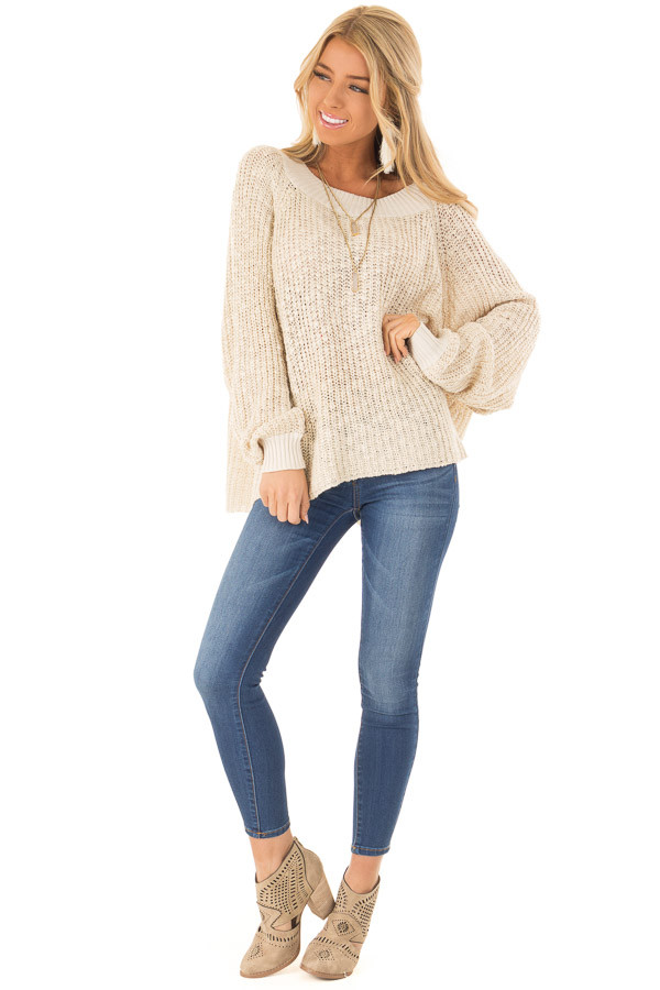 Oatmeal Oversized Knit Sweater with Long Dolman Sleeves front full body