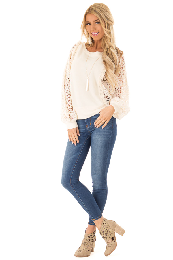 Cream Pullover Sweater with Long Sheer Lace Sleeves front full body