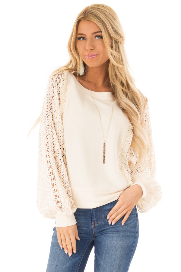 Cream Pullover Sweater with Long Sheer Lace Sleeves front close up