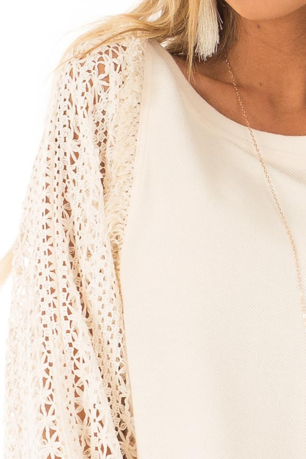 Cream Pullover Sweater with Long Sheer Lace Sleeves detail