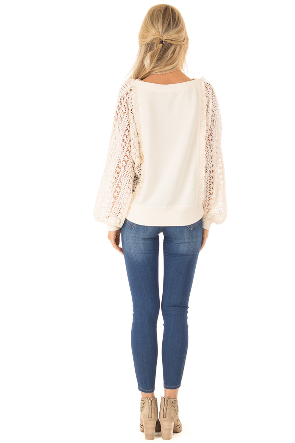 Cream Pullover Sweater with Long Sheer Lace Sleeves back full body