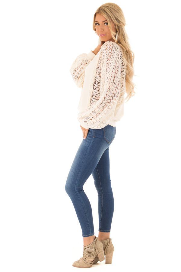 Cream Pullover Sweater with Long Sheer Lace Sleeves side full body