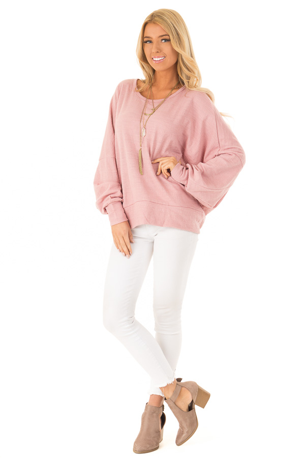 Blush Long Dolman Sleeve Top with Back Cutout front full body