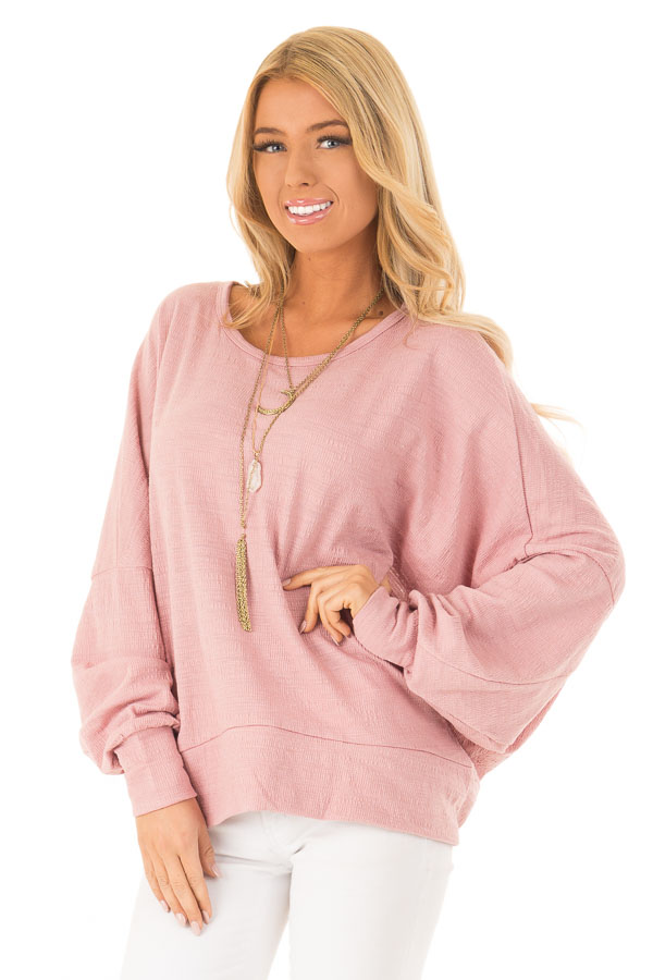 Blush Long Dolman Sleeve Top with Back Cutout front close up