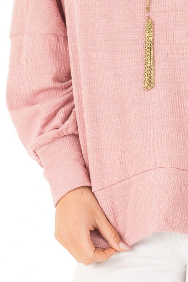 Blush Long Dolman Sleeve Top with Back Cutout detail