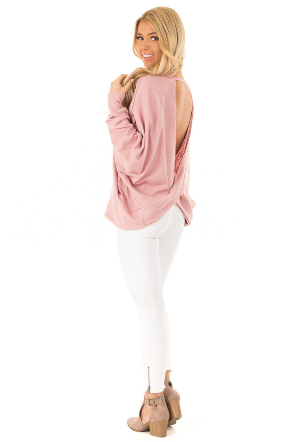 Blush Long Dolman Sleeve Top with Back Cutout back side full body
