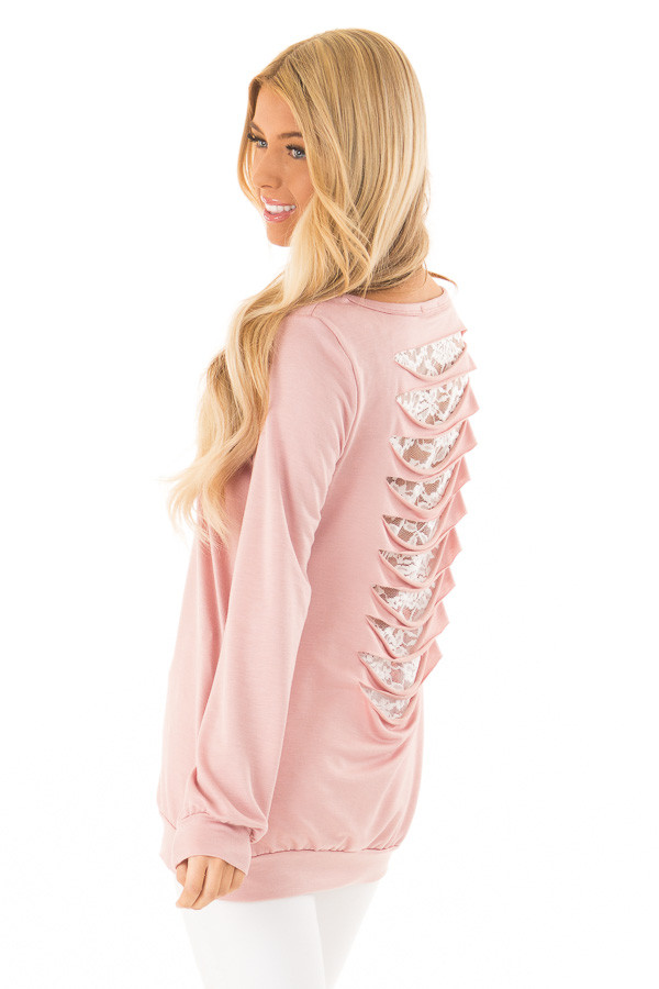 Salmon Long Sleeve Top with Ladder Cutout and Lace Detail side close up 617294f36