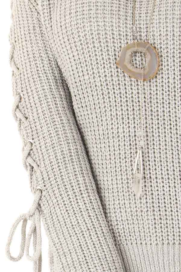 Stone Grey Off the Shoulder Knit Sweater with Lace Up Detail detail