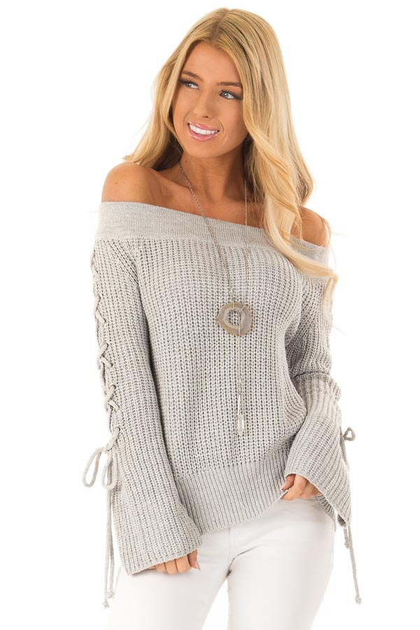 Stone Grey Off the Shoulder Knit Sweater with Lace Up Detail front close up