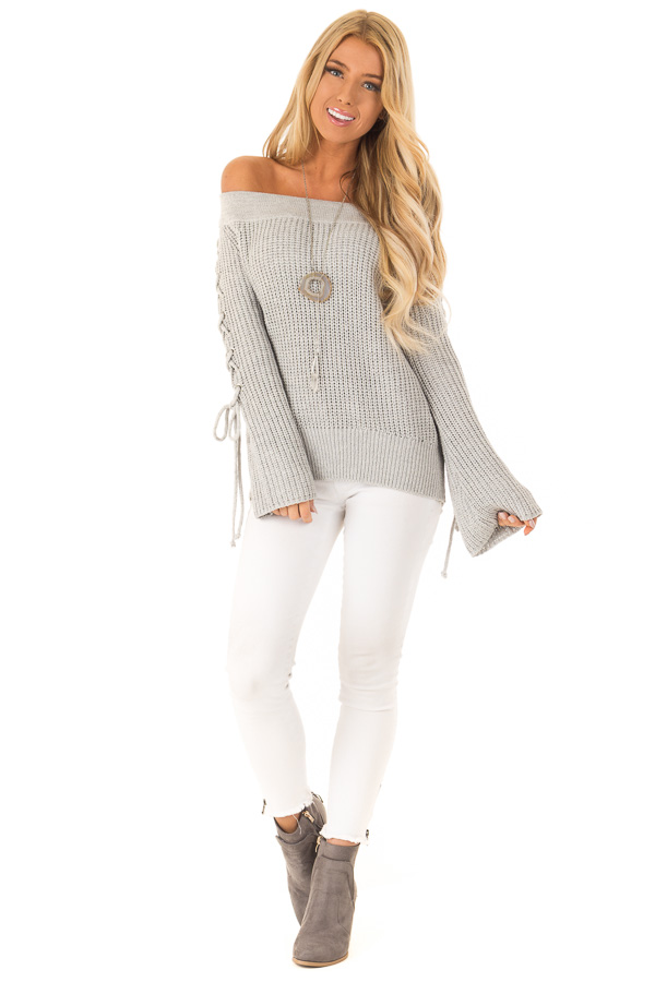 Stone Grey Off the Shoulder Knit Sweater with Lace Up Detail front full body
