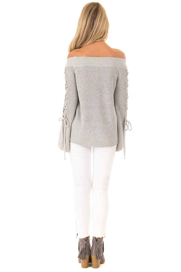 Stone Grey Off the Shoulder Knit Sweater with Lace Up Detail back full body