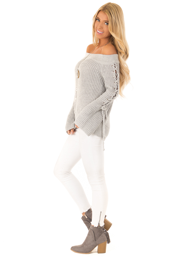 Stone Grey Off the Shoulder Knit Sweater with Lace Up Detail side full body