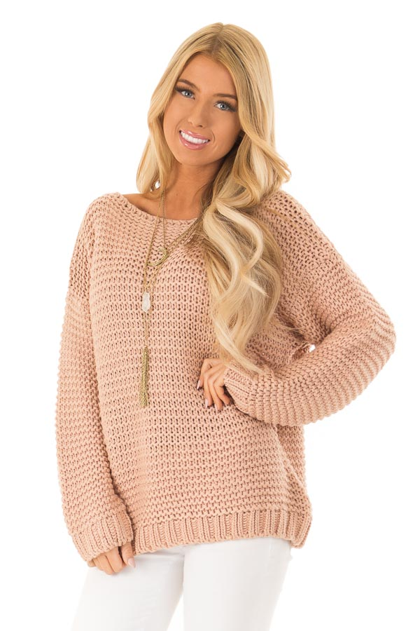 Dusty Blush Chunky Knit Boat Neck Pullover Sweater front close up