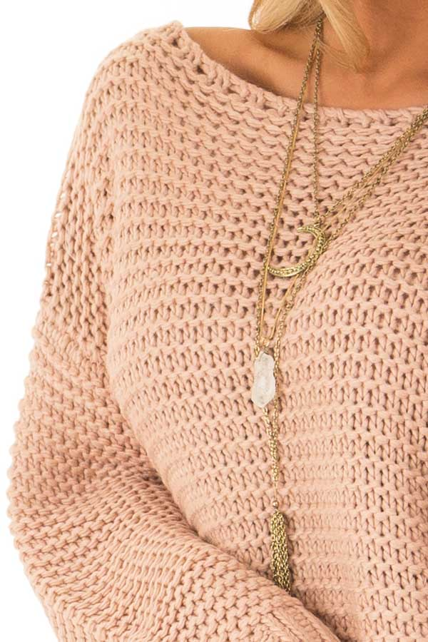 Dusty Blush Chunky Knit Boat Neck Pullover Sweater detail