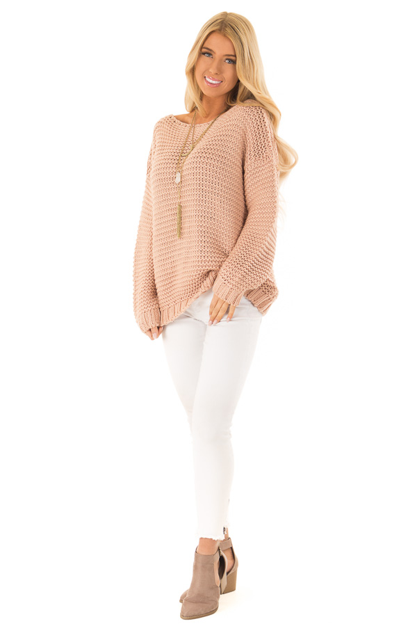 Dusty Blush Chunky Knit Boat Neck Pullover Sweater front full body
