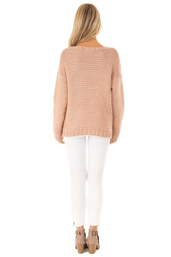 Dusty Blush Chunky Knit Boat Neck Pullover Sweater back full body
