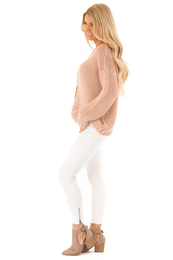 Dusty Blush Chunky Knit Boat Neck Pullover Sweater side full body