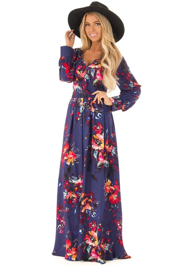 116cfb71c8f7 Indigo Floral Print Long Sleeve Maxi Dress with Front Tie front close up