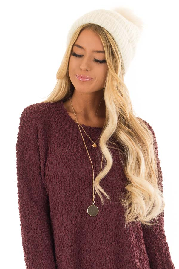Cream Feather Knit Beanie with Faux Fur Pom Pom front view