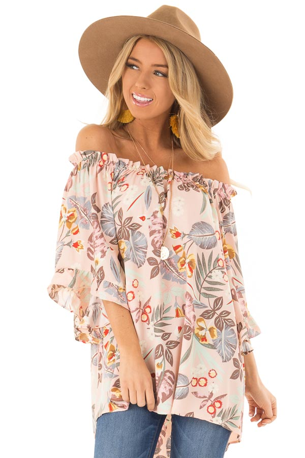 dbcdd145501c Pastel Pink Floral Off the Shoulder Top with Flowy Sleeves front close up