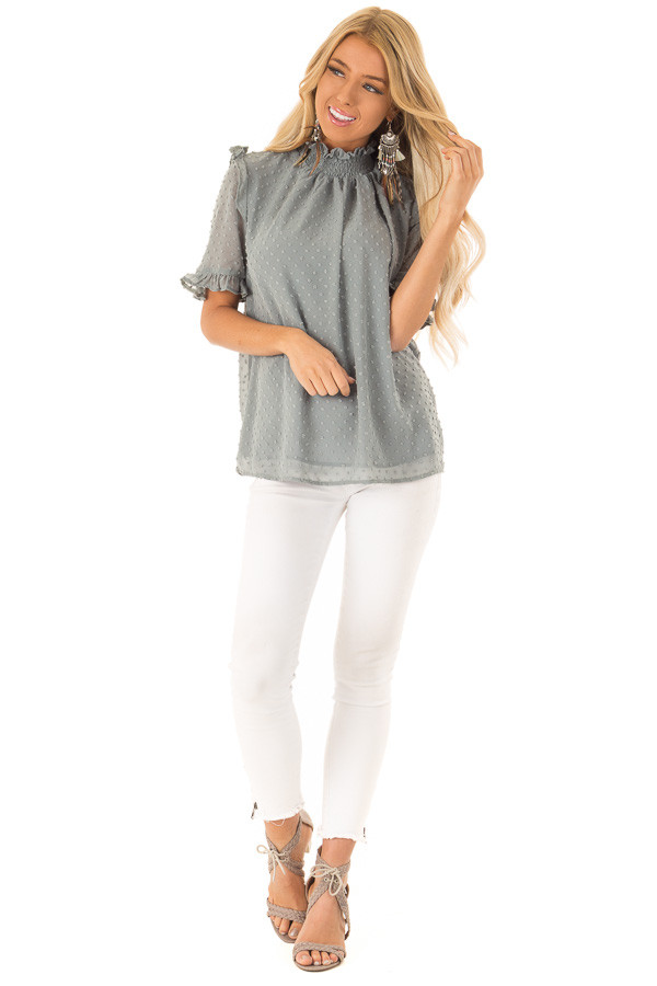 Dusty Teal Swiss Dot Mock Neck Blouse with Ruffle Sleeves front full body