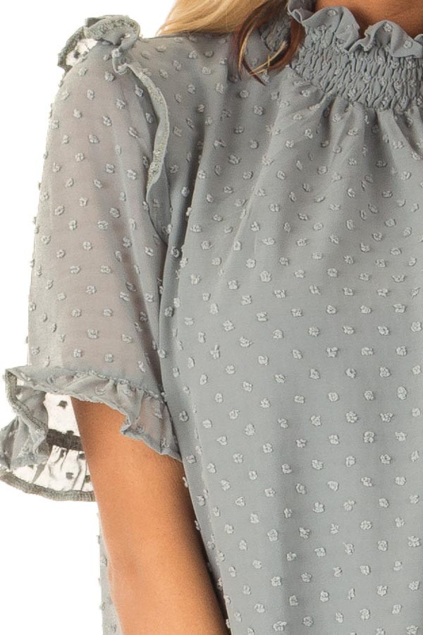 Dusty Teal Swiss Dot Mock Neck Blouse with Ruffle Sleeves detail