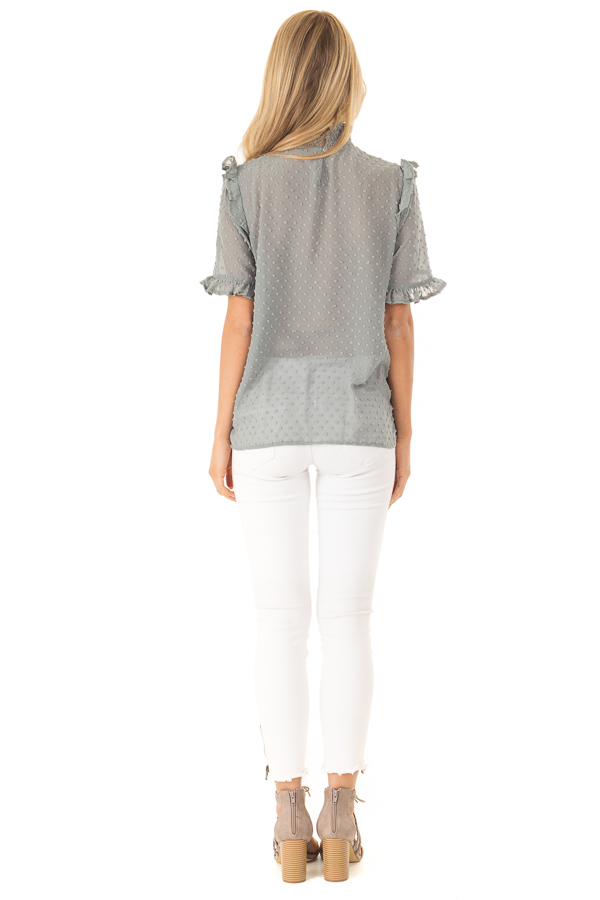 Dusty Teal Swiss Dot Mock Neck Blouse with Ruffle Sleeves back full body