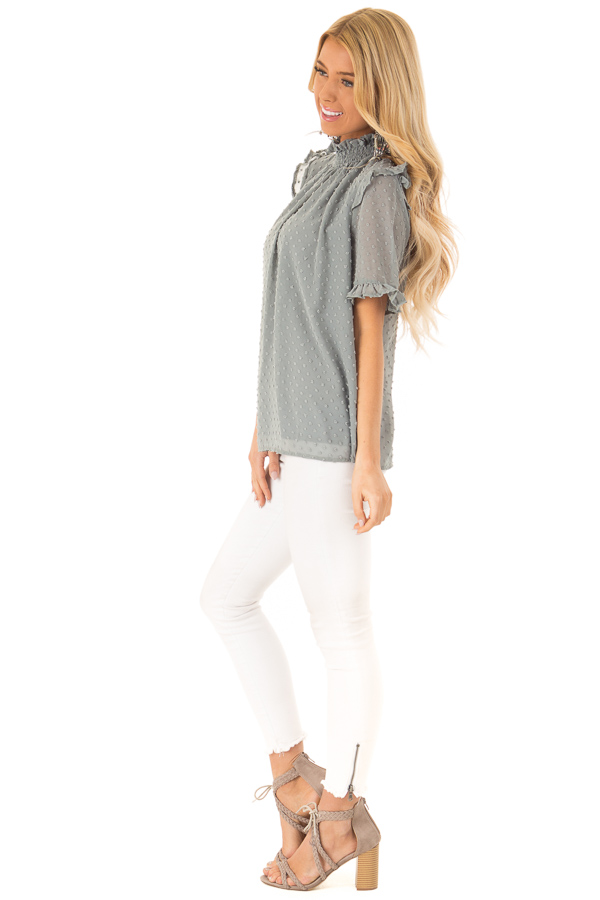 Dusty Teal Swiss Dot Mock Neck Blouse with Ruffle Sleeves side full body