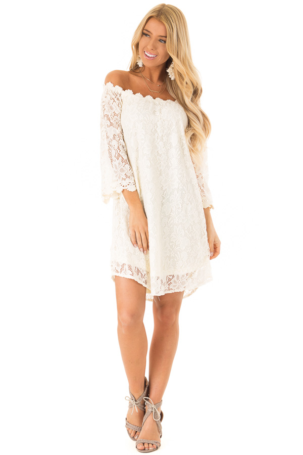 Cream Off Shoulder 3/4 Sleeve Lace Dress with Nude Lining front full body