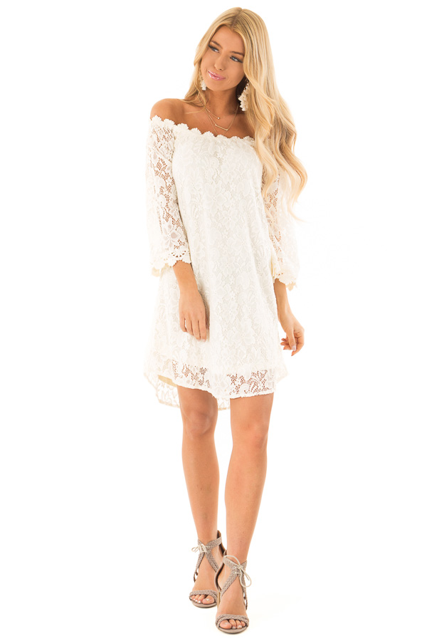 f55ef6abba2 Cream Off Shoulder 3/4 Sleeve Lace Dress with Nude Lining