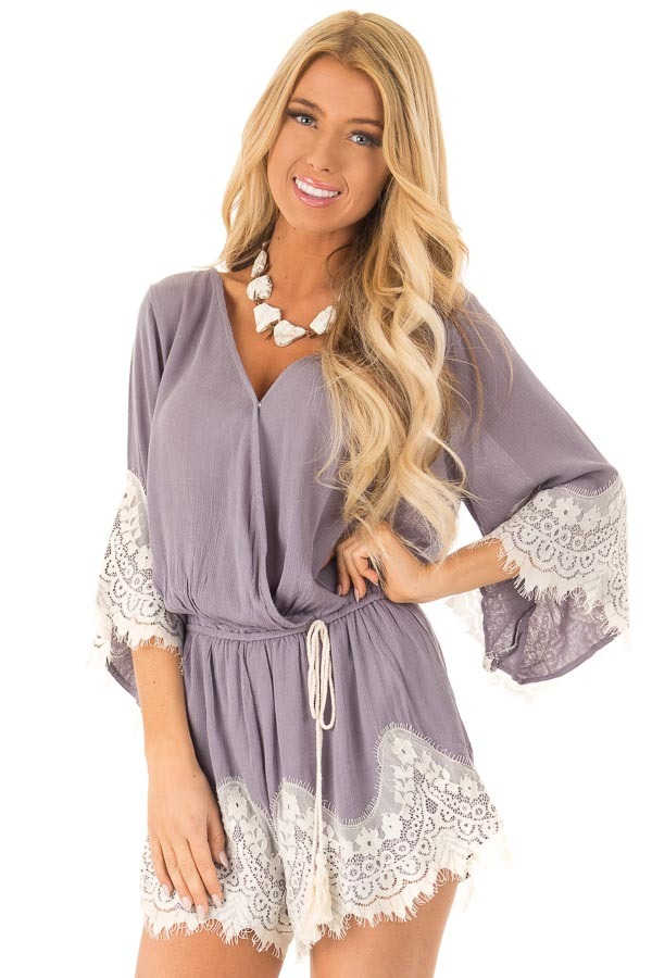 Steel Grey Romper with Lace Trim and Tassel Tie front close up