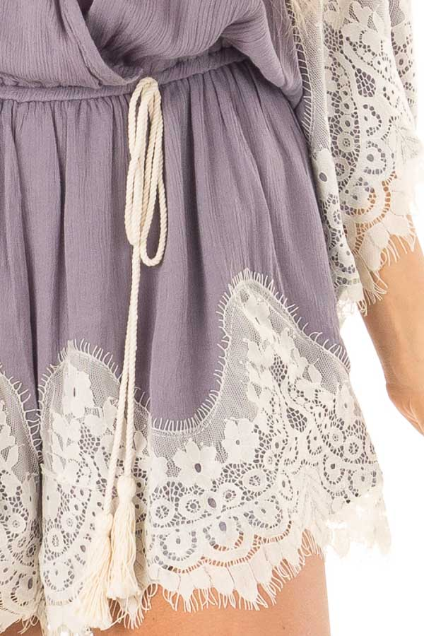 Steel Grey Romper with Lace Trim and Tassel Tie detail