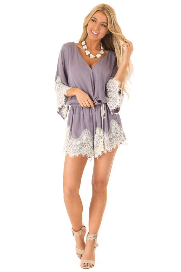 Steel Grey Romper with Lace Trim and Tassel Tie front full body