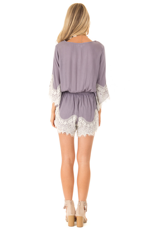 Steel Grey Romper with Lace Trim and Tassel Tie back full body