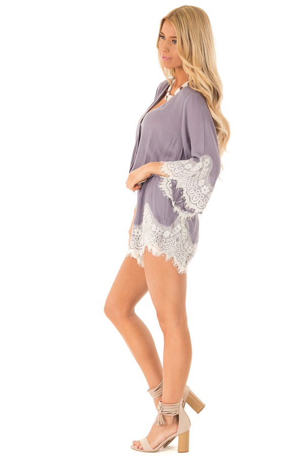 Steel Grey Romper with Lace Trim and Tassel Tie side full body