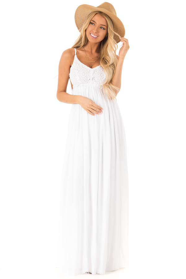 00f28e62a5a White Backless Maxi Dress with Crochet Bodice Detail front full body ...