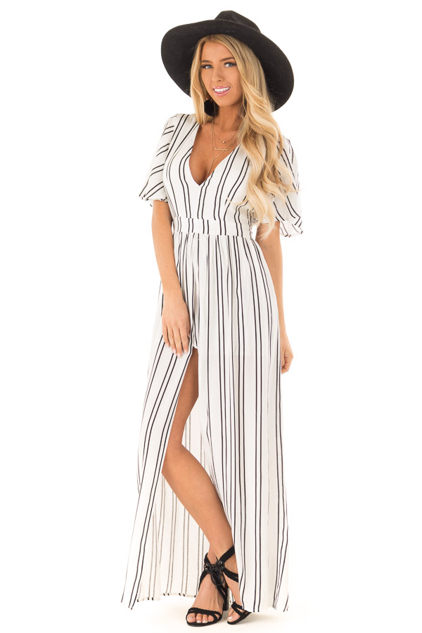 b113c2ec79ec Ivory and Ebony Striped Romper with Maxi Skirt Detail - Lime Lush ...