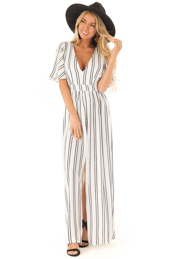 543e5ebc8fb7 ... Ivory and Ebony Striped Romper with Maxi Skirt Detail front full body  ...