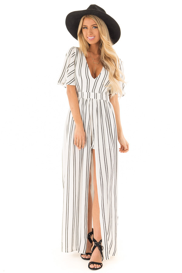 717dfe5fdec ... Ivory and Ebony Striped Romper with Maxi Skirt Detail front full body  ...