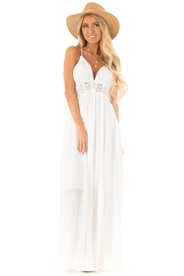 a9b03df26f5 White Sleeveless Open Back Maxi Dress with Lace Accents front full body ...
