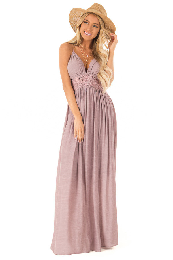 effdbf52f2d Mauve Sleeveless Open Back Maxi Dress with Lace Accents - Lime Lush ...
