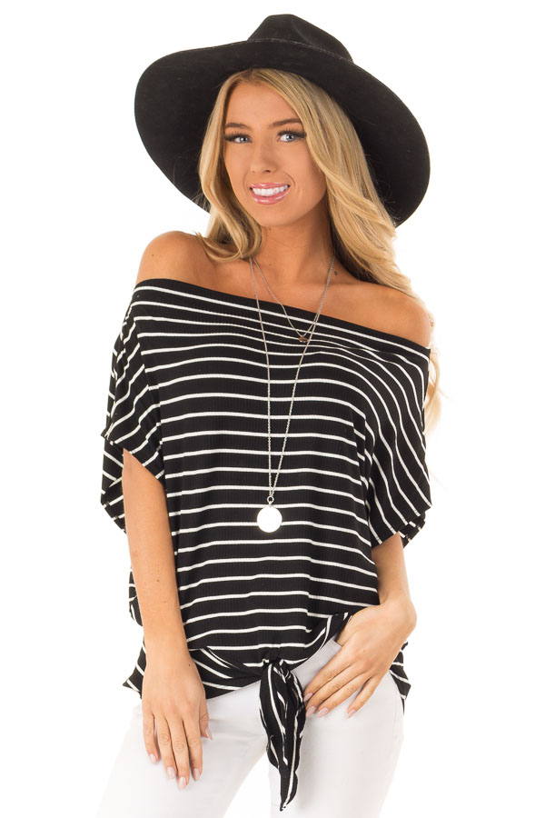 Black and Cream Striped Dolman Off the Shoulder Top front close up