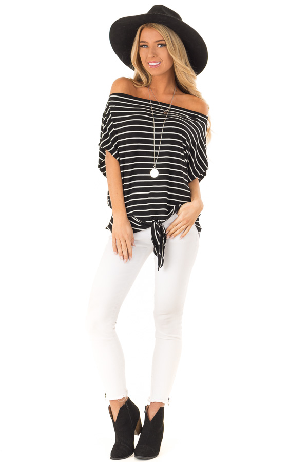 Black and Cream Striped Dolman Off the Shoulder Top front full body